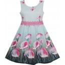 Dětské, dívčí letní šaty s růžovými květinami - kaly