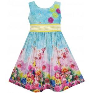 Dětské, dívčí letní šaty modré s květinami