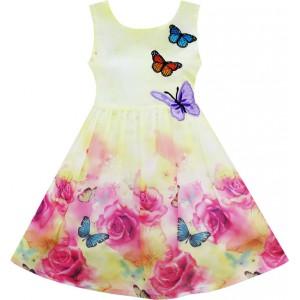 Dětské, dívčí letní šaty jemně žluté s vyšívanými motýlky