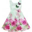 Dětské, dívčí letní šaty jemně zelené s vyšívanými motýlky
