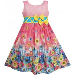 Dětské, dívčí letní šaty růžové s květinkami a mašličkou