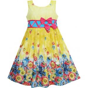 Dětské, dívčí letní šaty žluté s květinkami a mašličkou
