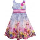 Dětské, dívčí letní šaty fialkové s květinami