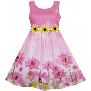 Dětské, dívčí letní šaty růžové s 3D slunečnicemi