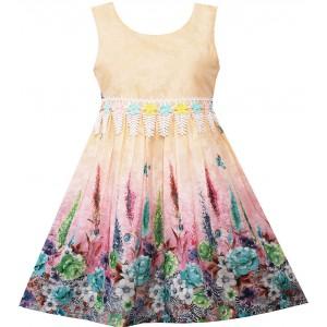 Dětské, dívčí letní šaty krémové s potiskem