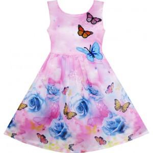 Dětské, dívčí letní šaty jemně růžové s vyšívanými motýlky
