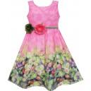 Dětské, dívčí letní šaty růžové s 3D květinami v pase