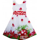 Dětské, dívčí letní šaty bílé - červená mochomůrka