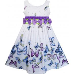 Dětské, dívčí letní šaty bílé - fialový motýlci