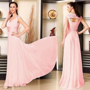 Elegantní společenské dámské šaty Ever Pretty s vlečkou 9672 - jemně růžové