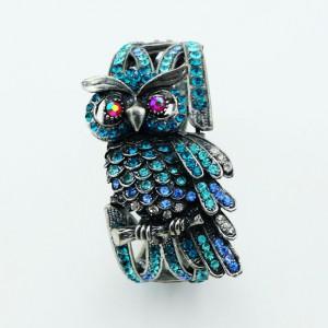 Luxusní velký stříbrný masivní dámský náramek sova modrý Swarovski krystal