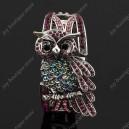Luxusní velký stříbrný masivní dámský náramek sova fialový Swarovski krystal