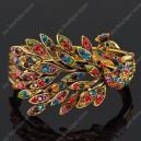 Luxusní velký zlatý masivní dámský náramek páv barevný Swarovski krystal