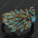Luxusní velký zlatý masivní dámský náramek páv modrý Swarovski krystal