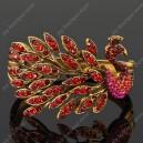 Luxusní velký zlatý masivní dámský náramek páv červený Swarovski krystal