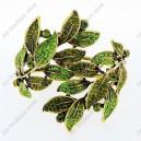 Luxusní velký zlatý masivní dámský náramek list zelený Swarovski krystal