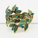 Luxusní velký zlatý masivní dámský náramek list modrý Swarovski krystal