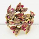 Luxusní velký zlatý masivní dámský náramek list růžový Swarovski krystal