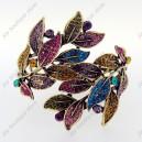 Luxusní velký zlatý masivní dámský náramek list barevný Swarovski krystal