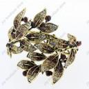 Luxusní velký zlatý masivní dámský náramek list hnědý Swarovski krystal