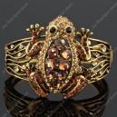 Luxusní velký zlatý masivní dámský náramek žába hnědý Swarovski krystal