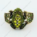 Luxusní velký zlatý masivní dámský náramek žába zelený Swarovski krystal
