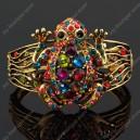 Luxusní velký zlatý masivní dámský náramek žába barevný Swarovski krystal