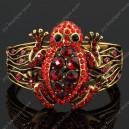 Luxusní velký zlatý masivní dámský náramek žába červený Swarovski krystal