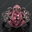 Luxusní velký stříbrný masivní dámský náramek žába růžový Swarovski krystal