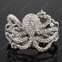 Luxusní velký stříbrný masivní dámský náramek chobotnice bílý Swarovski krystal