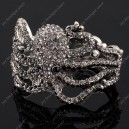 Luxusní velký stříbrný masivní dámský náramek chobotnice černý Swarovski krystal
