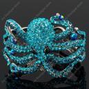 Luxusní velký stříbrný masivní dámský náramek chobotnice modrý Swarovski krystal