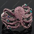 Luxusní velký stříbrný masivní dámský náramek chobotnice fialový Swarovski krystal