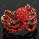 Luxusní velký zlatý masivní dámský náramek chobotnice červený Swarovski krystal