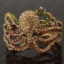 Luxusní velký zlatý masivní dámský náramek chobotnice hnědý Swarovski krystal