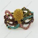 Luxusní velký zlatý masivní dámský náramek chobotnice barevný Swarovski krystal