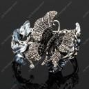 Luxusní velký stříbrný masivní dámský náramek motýl bílý Swarovski krystal