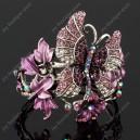 Luxusní velký stříbrný masivní dámský náramek motýl fialový Swarovski krystal