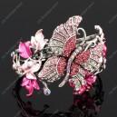 Luxusní velký stříbrný masivní dámský náramek motýl růžový Swarovski krystal