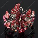 Luxusní velký stříbrný masivní dámský náramek motýl červený Swarovski krystal