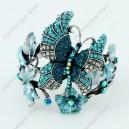 Luxusní velký stříbrný masivní dámský náramek motýl modrý Swarovski krystal