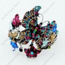 Luxusní velký stříbrný masivní dámský náramek motýl barevný Swarovski krystal