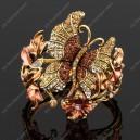 Luxusní velký zlatý masivní dámský náramek motýl hnědý Swarovski krystal