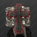 Luxusní velký stříbrný masivní dámský náramek kříž Swarovski krystal