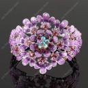 Luxusní velký stříbrný masivní dámský náramek květina fialový Swarovski krystal