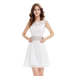 Dámské letní, společenské krátké šaty, bílé krajkové 5409