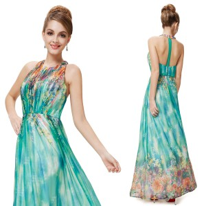 Květinové, dámské dlouhé šaty s ohlávkou, zelené 8258