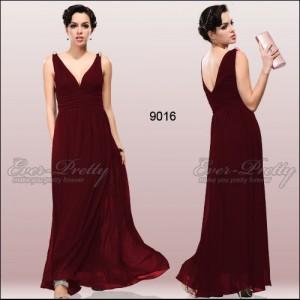 Nebesky jemné společenské šaty Ever Pretty 9016 - vínově červené