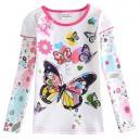 Dětské dívčí tričko s dlouhým rukávem bílé s motýlky