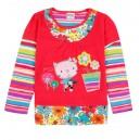 Dětské dívčí tričko s dlouhým rukávem s kočičkou - červené